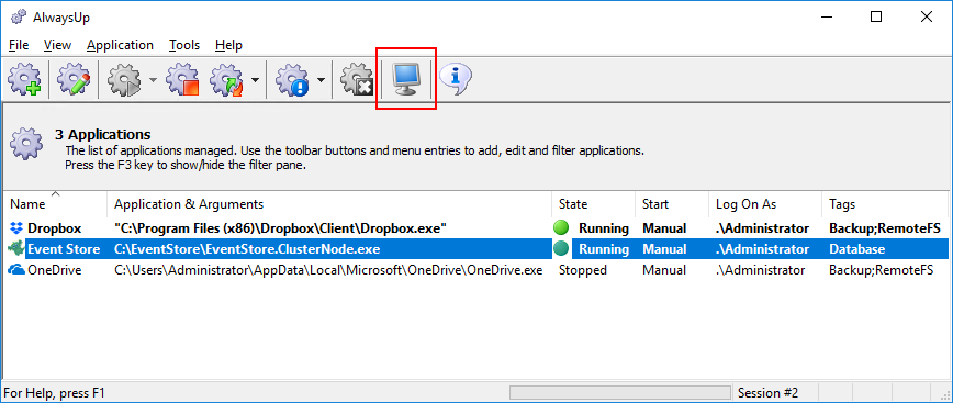 Switch to Session 0 from the Toolbar