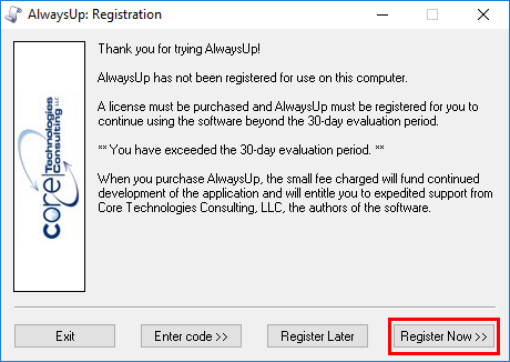 AlwaysUp Registration Dialog - Register Now