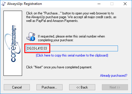 AlwaysUp Registration Dialog - Serial Number