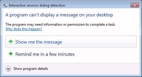 Interactive Services Detection Dialog