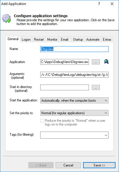 DebugView Windows Service: General Tab