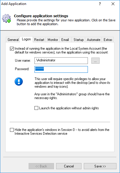 DebugView Windows Service: Logon Tab