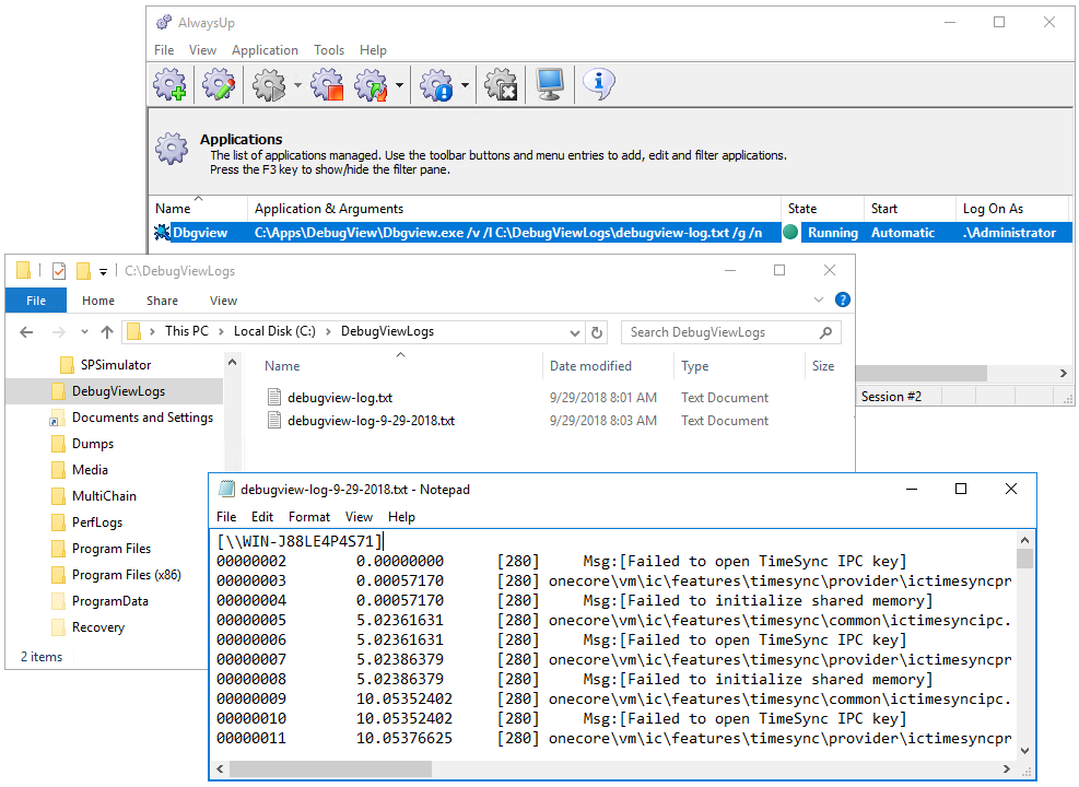 DebugView Windows Service: Log File
