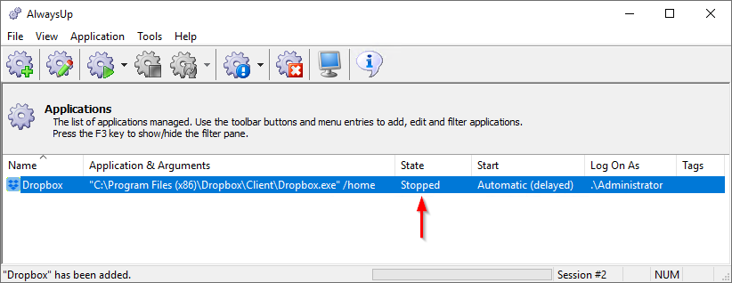Dropbox Windows Service: Created