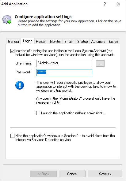 Dropbox Windows Service: Logon Tab