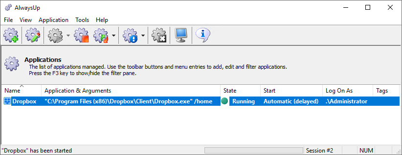 Dropbox Windows Service: Running