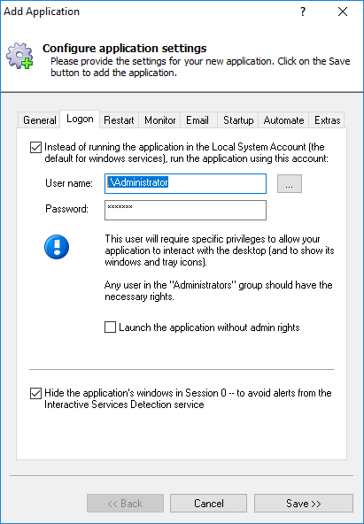 FullSync Windows Service: Logon Tab