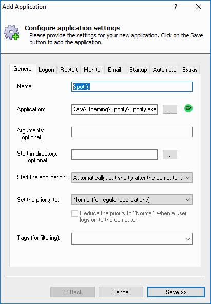Spotify Windows Service: General Tab